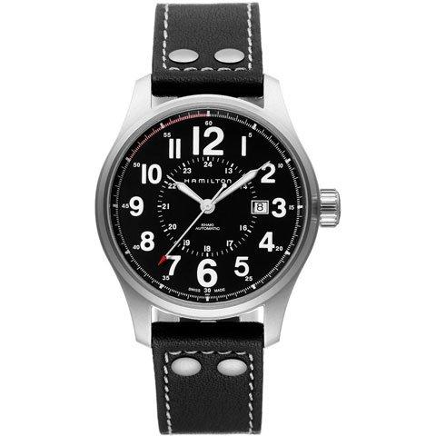 ハミルトン 腕時計 カーキ オフィサー オート H70615733 ブラック×ブラック