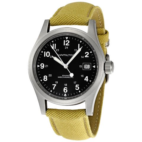 ハミルトン 腕時計 カーキフィールド メカ H69419933 ブラック×ベージュ