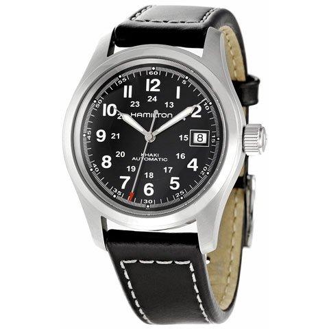 ハミルトン 腕時計 カーキフィールド H70455733 自動巻き ブラック×ブラックレザーベルト