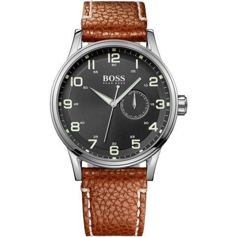ヒューゴボス 腕時計 メンズ ブラック 1512723 ブラックダイヤル×ブラウンレザーベルト