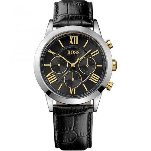 ヒューゴボス 腕時計 メンズ ブラック 1512729 ブラックダイヤル×ブラックレザーベルト