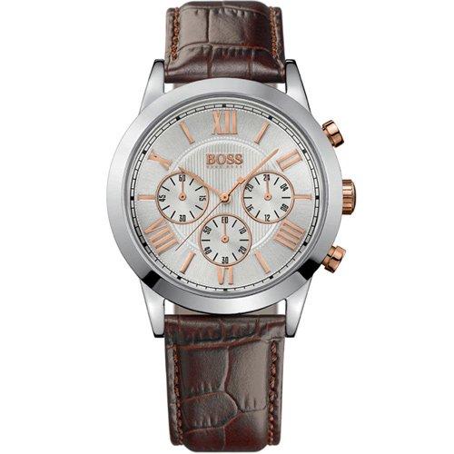 ヒューゴボス 腕時計 メンズ ブラック 1512728 ホワイトダイヤル×ブラウンレザーベルト