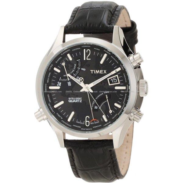 タイメックス 腕時計 インテリジェントクオーツ ワールドタイム T2N943 ブラックレザーベルト