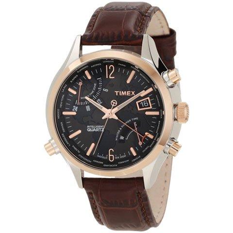 タイメックス 腕時計 インテリジェント クオーツ ワールドタイム T2N942 ブラウンレザーストラップ