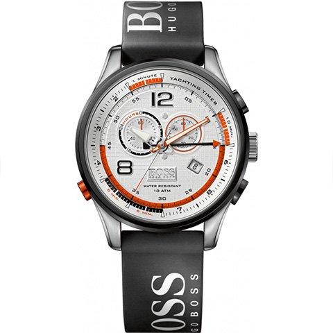 ヒューゴボス 腕時計 メンズ ブラック 1512501 シルバーダイヤル×ブラックラバーベルト