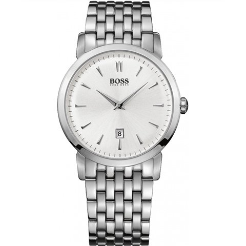 ヒューゴボス 腕時計 メンズ ブラック 1512719 シルバーダイヤル×ステンレスブレスレット
