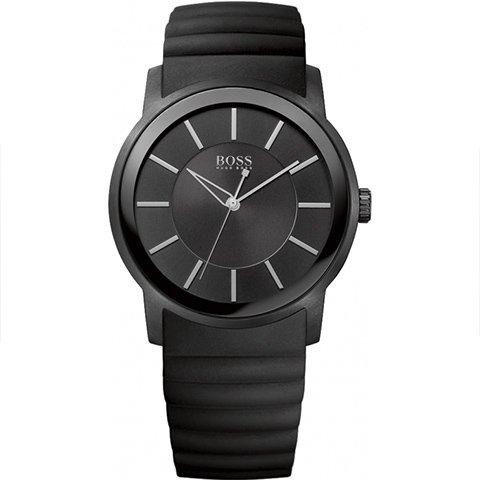 ヒューゴボス 腕時計 メンズ ブラック 1512742 ブラックダイヤル×ブラックラバーストラップ