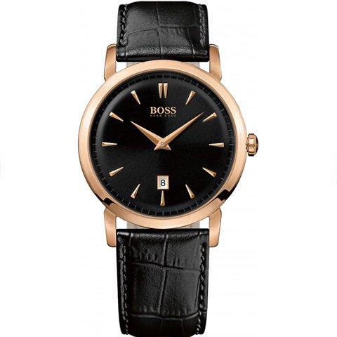 ヒューゴボス 腕時計 メンズ ブラック 1512635 ブラックダイヤル×ブラックレザーベルト
