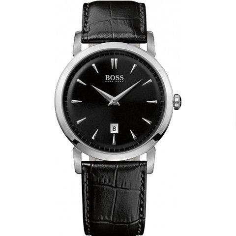 ヒューゴボス 腕時計 メンズ ブラック 1512637 ブラックダイヤル×ブラックレザーベルト