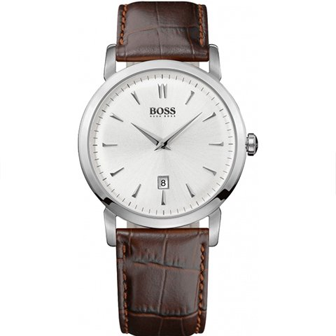 ヒューゴボス 腕時計 メンズ ブラック 1512636 ホワイトダイヤル×ブラウンレザーベルト
