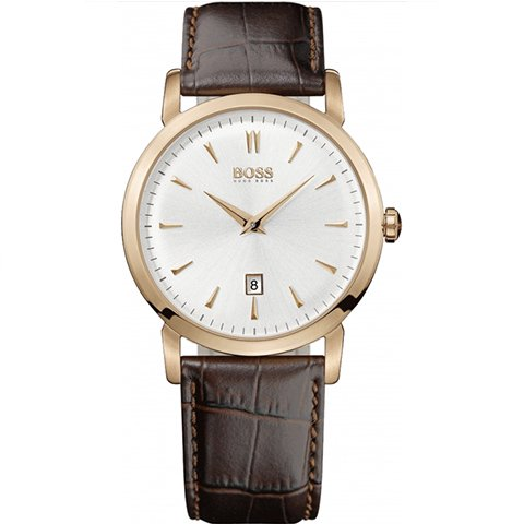 ヒューゴボス 腕時計 メンズ ブラック 1512634 ホワイトダイヤル×ブラウンレザーベルト