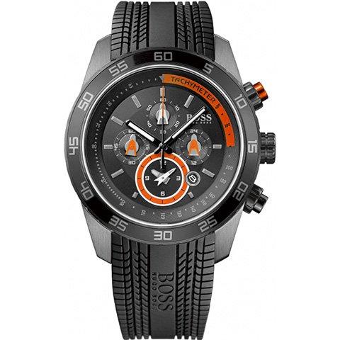 ヒューゴボス 腕時計 メンズ ブラック 1512662 ブラックダイヤル×ブラックラバーストラップ