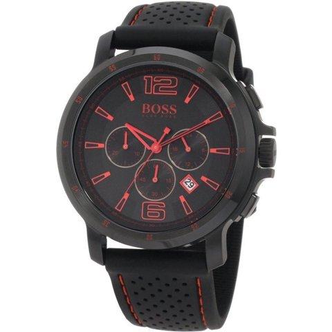 ヒューゴボス 腕時計 メンズ ブラック 1512597 ブラックダイヤル×ブラックラバーストラップ