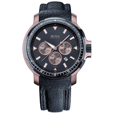 ヒューゴボス 腕時計 メンズ ブラック 1512315 ブラックダイヤル×ブラックレザーベルト