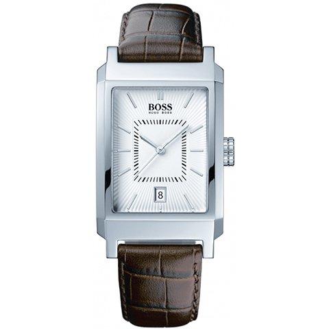 ヒューゴボス 腕時計 メンズ ブラック 1512227 ホワイトダイヤル×ブラウンレザーベルト