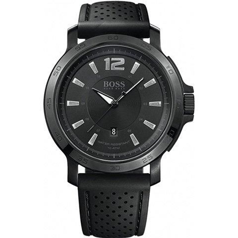 ヒューゴボス 腕時計 メンズ ブラック 1512453 ブラックダイヤル×ブラックラバーストラップ