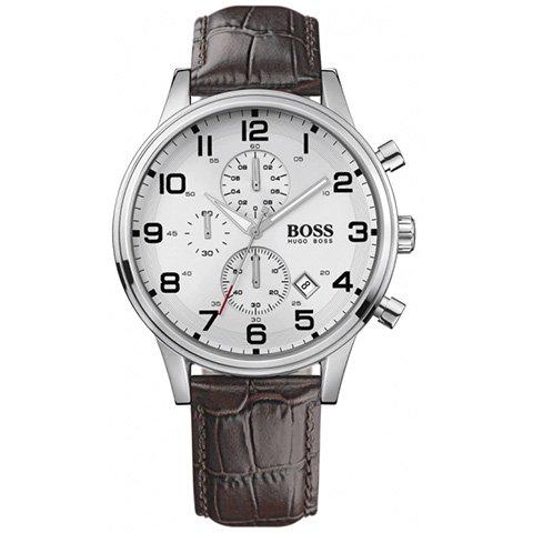 ヒューゴボス 腕時計 メンズ ブラック 1512447 ホワイトダイヤル×ブラウンレザーベルト