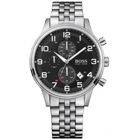 ヒューゴボス 腕時計 メンズ ブラック 1512446 ブラックダイヤル×ステンレスブレスレット