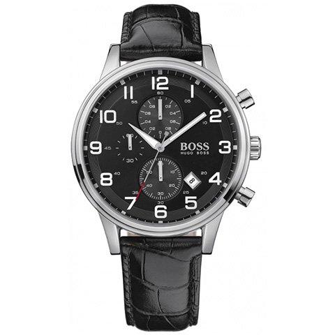 ヒューゴボス 腕時計 メンズ ブラック 1512448 ブラックダイヤル×ブラックレザーベルト