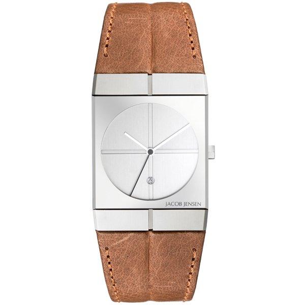 ヤコブ・イェンセン 腕時計 メンズ 233 シルバー×ブラウンレザーベルト