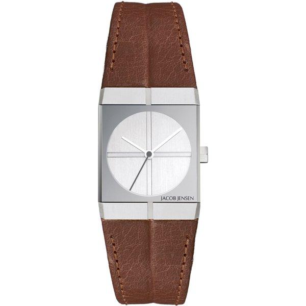 ヤコブ・イェンセン 腕時計 レディース 243 ホワイト×ブラウンレザーベルト