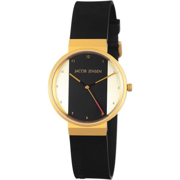 ヤコブ・イェンセン 腕時計 レディース 744 ブラック×ホワイト×ゴールド