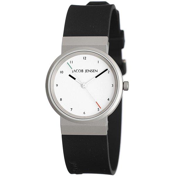 ヤコブ・イェンセン 腕時計 レディース 743 ホワイト×ブラックラバーベルト
