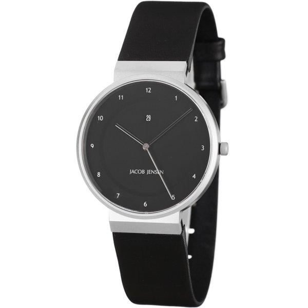 ヤコブ・イェンセン 腕時計 メンズ 860 ブラック×ブラックラバーベルト