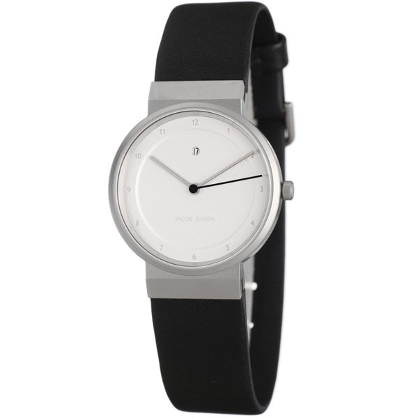 ヤコブ・イェンセン 腕時計 レディース 871 シルバー×ブラックラバーベルト