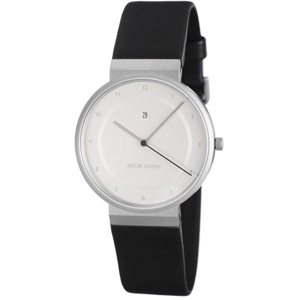 ヤコブ・イェンセン 腕時計 メンズ 861 シルバー×ブラックラバーベルト