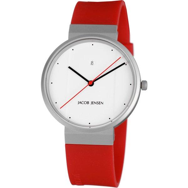 ヤコブ・イェンセン 腕時計 メンズ 751 ホワイト×レッドラバーベルト