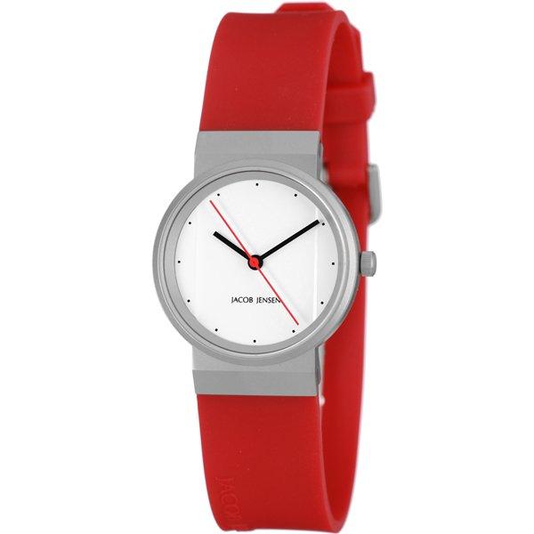 ヤコブ・イェンセン 腕時計 レディース 761 ホワイト×レッドラバーベルト
