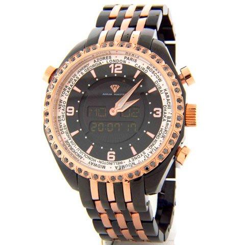 アクアマスター 腕時計 アナデジモデル W326B ブラックダイヤモンドウオッチ