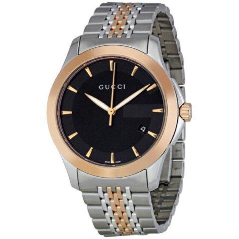 グッチ 腕時計 メンズ G-タイムレス YA126410 ブラック×ツートンベルト