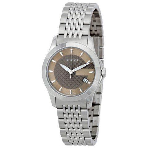 グッチ 腕時計 レディース G-タイムレス スモール YA126503 ブラウン×シルバー