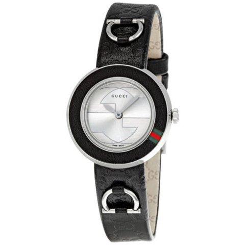 グッチ 腕時計 レディース U-プレイ YA129508 シルバーダイアル×ブラックレザーベルト