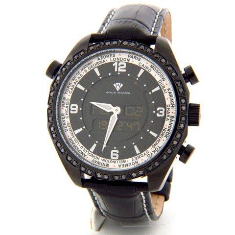 アクアマスター 腕時計 アナデジモデル W326BLIP ブラックダイヤモンドウオッチ