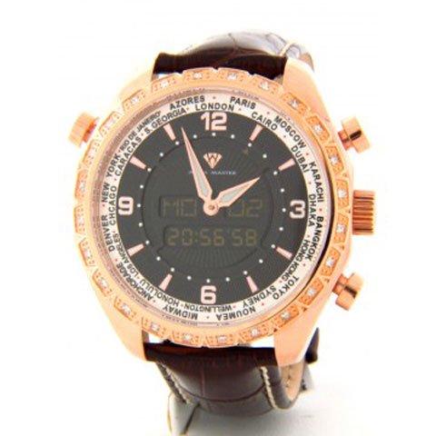 アクアマスター 腕時計 アナデジモデル W326BRG ワールドタイム ブラックレザーベルト