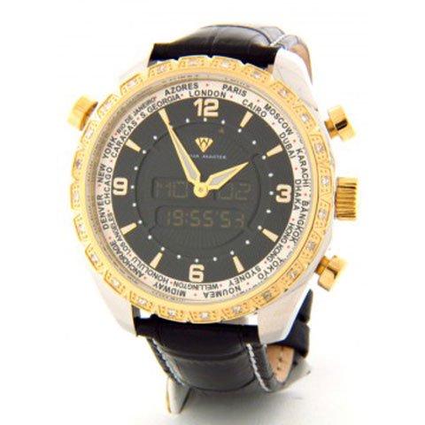 アクアマスター 腕時計 アナデジモデル W326SGT ワールドタイム ブラックレザーベルト