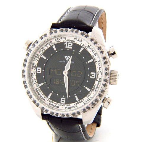 アクアマスター 腕時計 アナデジモデル W326BBL ワールドタイム ブラックレザーベルト