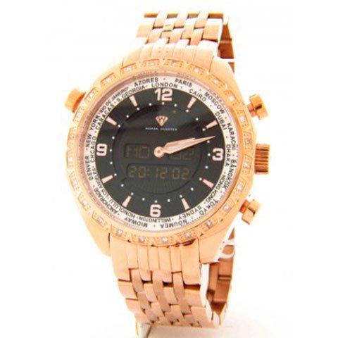 アクアマスター 腕時計 アナデジモデル  W326RGS ワールドタイム ローズゴールド