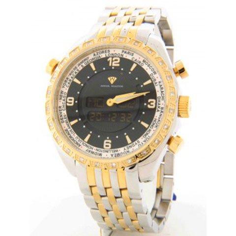 アクアマスター 腕時計 アナデジモデル  W326RGS ワールドタイム ホワイトダイヤモンドウォッチ ゴールド×シルバー