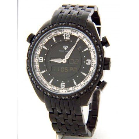 アクアマスター 腕時計 アナデジモデル W326BBIP ワールドタイム ブラック