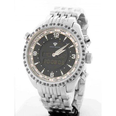 アクアマスター 腕時計 アナデジモデル W326BSS ワールドタイム シルバー