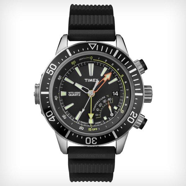 タイメックス 腕時計 ダイバーズ T2N810 インテリジェントクオーツ デプス ブラックラバーベルト