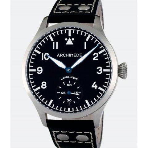 アルキメデ 腕時計 パイロットウォッチ 手巻き腕時計 UA7949-H1.1 ブラックレザー