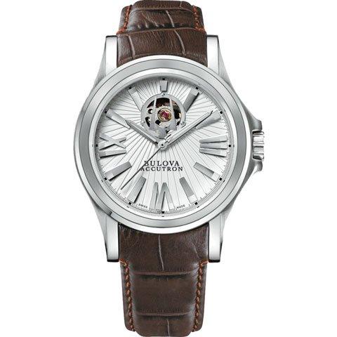 ブローバ 腕時計 アキュトロン カークウッド 63A100 ホワイト×ブラウンレザーベルト