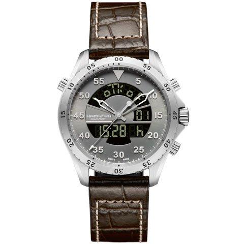 ハミルトン 腕時計 カーキフライトタイマー H64514581 グレー×ブラウンレザー
