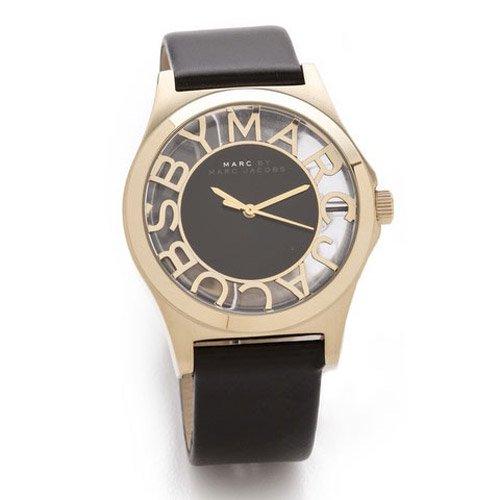 マークバイマークジェイコブス 腕時計 レディース ヘンリースケルトン MBM1246 ブラックレザー