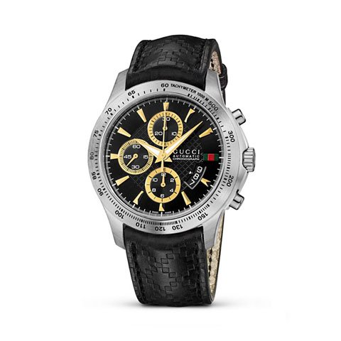 グッチ 腕時計 メンズ G-タイムレス オートマティック クロノグラフ YA126237 ブラックレザー